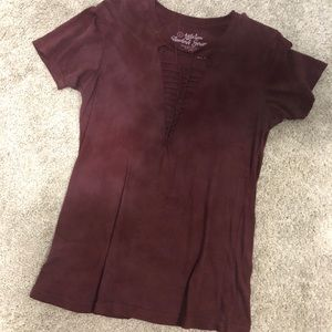 Burgundy T-Shirt w/ Distressed Detail [Affliction]